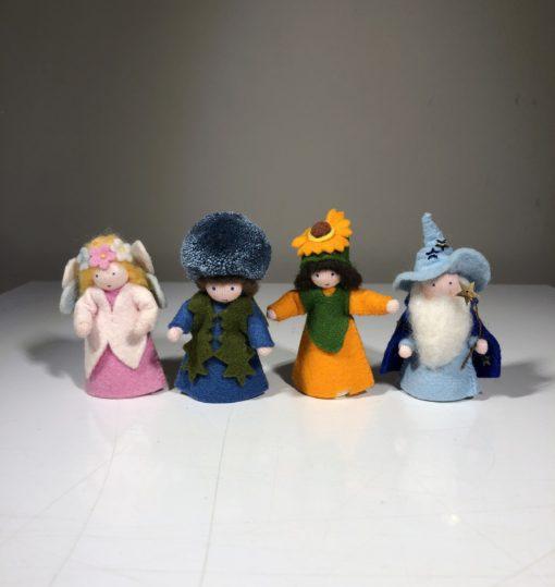 Jahreszeiten-Dekoration Zauberer, Elfe, Ringelblume und  Distel (4 Stück)
